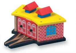 Lokschuppen für Eisenbahnen, Stellplatz für 3 Lokomotiven, Kinder-Holzspielzeug