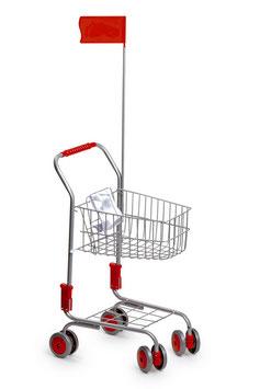 Einkaufswagen, silber, Kaufläden-Zubehör, Kinder-Spielsachen