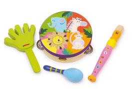 "Musik-Set ""Safari"", 4-er Set Musikinstrumente - Tamburin, Klapper, Blockflöte, Rassel - Holzspielzeug"