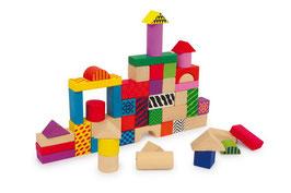 """Bauklötze """"Philip"""", 50 Bauklötze in einer Tragetasche zum Bauen u. Konstruieren für junge Baumeister, Holzspielzeug"""