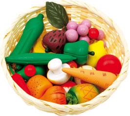 Gemüsekorb, Kaufläden-Zubehör mit leckerem Gemüse für Küchen u. Zubehör, Kinder-Holzspielzeug