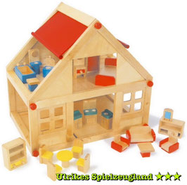 Puppenwohnhaus mit Möbel, Puppenhäuser u Zubehör, Puppen, Holzspielzeug für die Kleinen