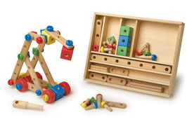 Konstruktions-Set, Bauen u. Konstruieren mit bunten Holzelementen