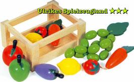 Holz - Gemüsekiste, Stiege gefüllt mit Gemüse, Zubehör für Küchen und Kaufläden