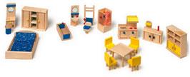 Puppenmöbel mit Küche für Puppenhäuser u. Zubehör, Holzspielzeug