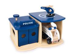 Polizeistation mit Polizeiwagen und Polizei-Helikopter, Hubschrauberlandeplatz und Fahrzeuggarage