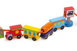 Fädel-Zug, Eisenbahnen, Holzspielsachen