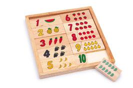 """Puzzle """"Zahlen lernen - Früchte"""", Lernspiel aus Holz für Zahlen, Mengen, Motorik und Formen, Bauernhöfe"""