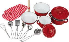 Kochgeschirr rot, 13-tlg., Küchen u. Zubehör, Puppenhäuser u. Zubehör