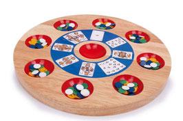 Pochen, Gesellschaftsspiel mit Massivholz-Pochbrett, Holzspielzeug