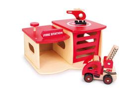 Feuerwehrwache mit Feuerwehrfahrzeug und Helikopter, Fire Station, Fahrzeuge-Autos