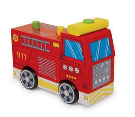 Feuerwehr-LKW mit Blinklicht und Feuerwehr-Sirene, Löschwagen für den Kinderfeuerwehrmann, Fahrzeuge-Autos