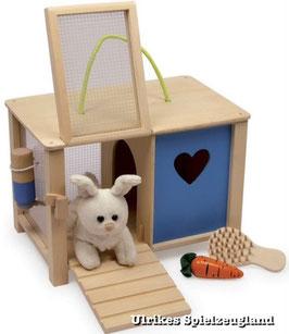 Holz-Hasenstall mit Stoffhase, Bauerhöfe-Zubehör, Kinder-Holzspielzeug