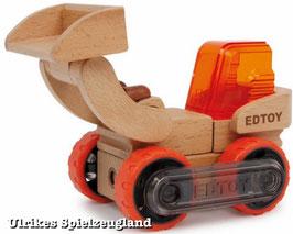 Bulldozer EDTOY, schiebt auf der Baustelle Erde und Steine locker aus dem Weg