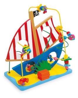 Motorikschleife Piratenschiff, Motorik Spielzeug, Kinder-Holzspielsachen als Lernartikel, Schiffe-Zubehör
