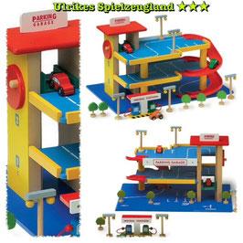 Kinder-Holz-Parkhaus mit Tankstelle, Fahrzeuge-Autos, Holzspielzeug für reichlich Spielspaß im Kinderzimmer