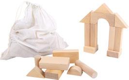 Große Bauklötze - 50 Holzbausteine im Leinensack zum Bauen u. Konstruieren, Holzspielzeug für junge Baumeister