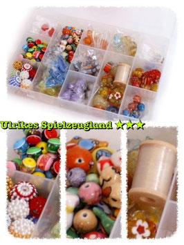 "Fädelbox-Glas-Keramik-Schmuck-Set ""Juwelen"""