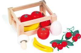Holz - Obstkiste, Stiege gefüllt mit Früchten, als Zubehör für Küchen und Kaufläden
