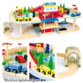 Holz-Eisenbahn - mehrstöckig - 80 Teile