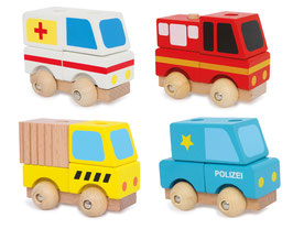 Rettungswagen 4er-Set, Ambulanz-Fahrzeug, Polizei-Einsatzwagen, Feuerwehr, Straßenwacht