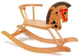 """Schaukelpferd mit Rückenbügel, Schaukelartikel für sicheres """"Reiten"""", Holzspielzeug"""