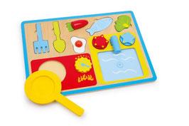 Puzzle Frühstücks-Set, Küchen u Zubehör,  Holzspielzeug für kleine Köche