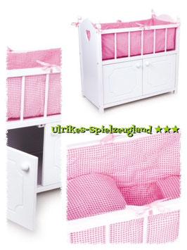 Puppen-Hochbett mit Unterschrank, Puppenhäuser u. Zubehör, Kinderzimmermöbel u. Zubehör aus Holz