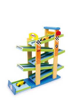 Autobahn, Fahrzeuge-Autos auf Kugelbahnen, Holzspielzeug