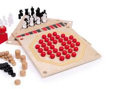"""Spielesammlung """"5 in 1"""", Gesellschaftsspiele in Holzbox, beliebte Brettspiele, Holzspielzeug"""