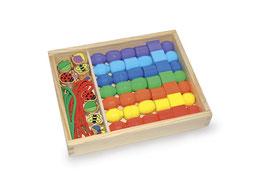 Fädelbox -Jumboperlen-, Malen u Basteln, Holzperlen mit Fädelschnüren für Schmuck-Designer