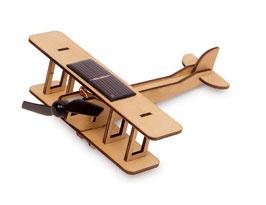 Doppeldecker Solar, Flugzeug mit Propeller, Holzspielzeug