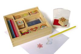 Stempel Box, Lernartikel für Malen u. Basteln in einer Holzkiste