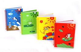 Notizbuch, 4-er-Set, Ringbücher, Lernartikel mit Deckel aus Holz
