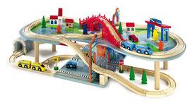 Eisenbahn mehrstöckig Malte Spielzeug für Spielstunden im Kinderzimmer, Holzspielzeug mit hohem Spielwert