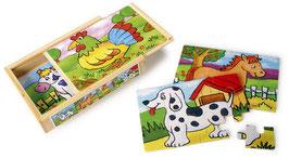 """Puzzle-Box """"Tiere"""", Puzzlespaß mit 4 verschiedenen Motiven, Holzspielzeug"""