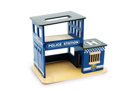 Polizeiwache mit Landeplatz für Hubschrauber und Gefängnis für Autodiebe - Holzspielzeug