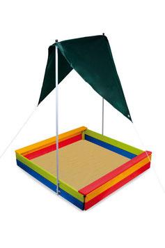 Sandkasten mit Sonnensegel / Gartenspielzeug als Outdoor-Highlight / bauen, konstruieren u. gestalten