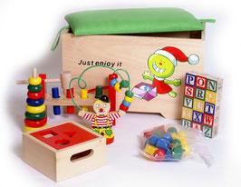 Spieltruhe, Kinderzimmermöbel u. Zubehör, 6 Holzspielzeuge zur Schulung der Motorik