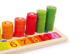 Rechenbrett Klötzchen, Lernartikel für die ersten Rechenaufgaben als Holzspielzeug