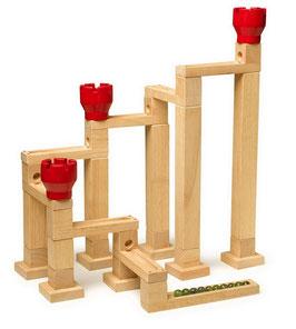 Kugelbahn mit Magneten, Bauen u. Konstruieren von Kugelbahnen, Kinder-Holzspielzeug mit Bauklötzen