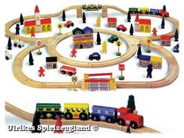 Holz-Eisenbahn - groß - 100 Teile