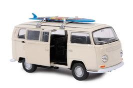 """Modellauto """"VW Bus T2 + Surfbrett"""" Automobil-Klassiker und Nostalgieauto für Spielkinder und Sammler"""