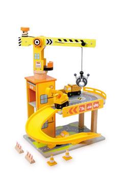 """Baustelle """"Parkhaus"""", Bauen u. Konstruieren für Fahrzeuge-Autos, Kinder-Holzspielzeug mit Drehkran"""