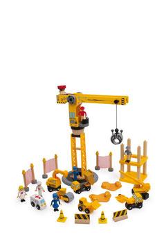 """Baustellen-Set """"City""""- Bauen u. Konstruieren mit Kran und Baustellenfahrzeugen, kompatibel zu den gängigen Holzeisenbahnen"""