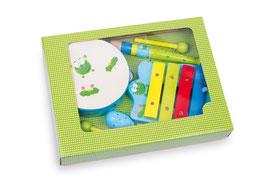 """Musik-Set """"Frosch"""", Musikinstrumente - Xylophon - Rassel - Flöte - Tamburin, Holzspielzeug für den kleinen Musiker"""