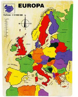 """Puzzle """"Europa"""", Lernspiel für Kenntnisse in Geographie / Erdkunde, aus stabilem Schichtholz"""