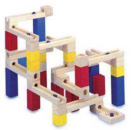 Murmelbahn, Bauen u. Konstruieren von Kugelbahnen, Kinder-Holzspielzeug mit bunten Bauklötzen