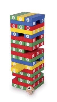 Zahlenturm, Bauen u. Konstruieren, Lernartikel für Zahlen, Gesellschaftsspiel, Würfelspiel, Holzspielzeug