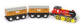 Lokomotive elektrektrisch mit zwei Anhängern, Batterieantrieb, Magnethalterung zum Ziehen der Anhänger